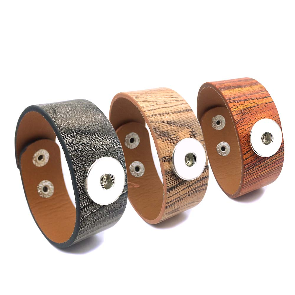 New Wood Grain 261 really Genuine Leather Retro Interchangeable Bracelet 18mm Snap Button Charm Jewelry For Women Gift