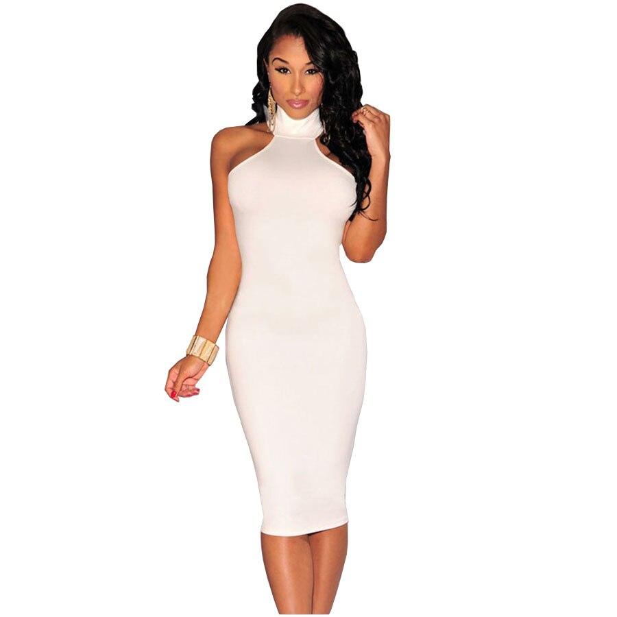 11516722fe5e5 Juanbo Summer Style Casual Women Sleeveless Sexy Bandage Black White Red  Turtleneck Party Midi Pencil Dress