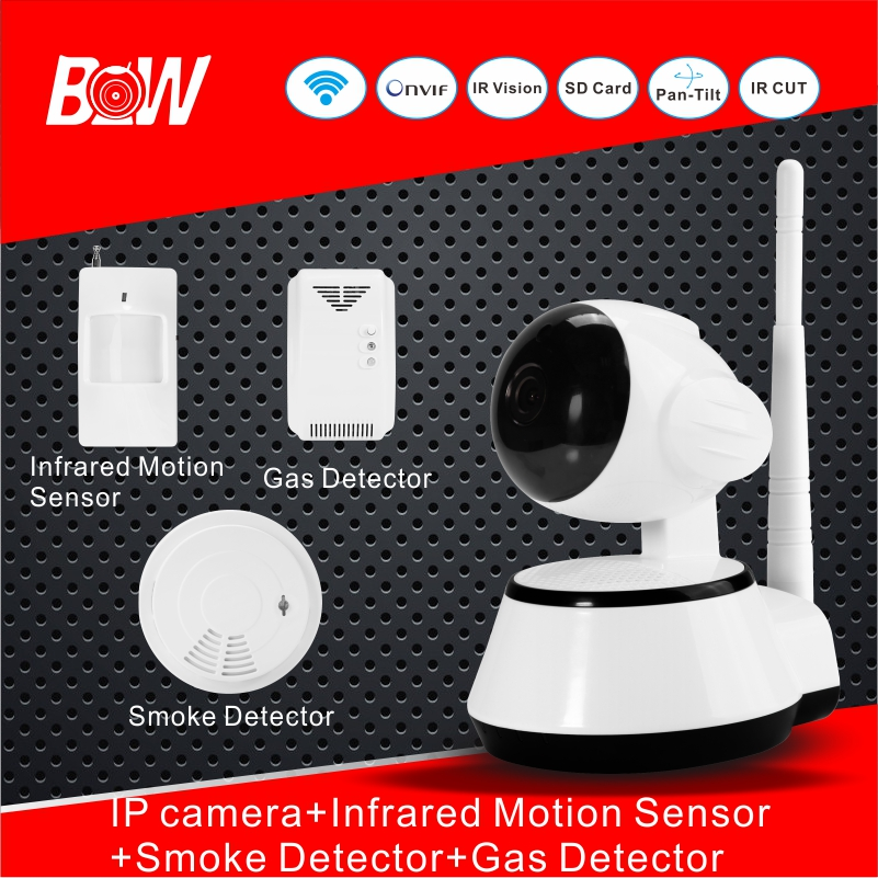 цена на BW WiFi Camera IP + Doors Sensor Infrared Motion Sensor Smoke Detector Alarm Security Camera Wireless Video Surveillance BW14