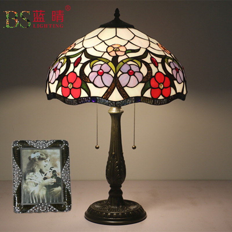 European Glass Table Lamps Stained Glass Lamp For Bedside Study Pastoral Living Room Coffee Bar Marriage