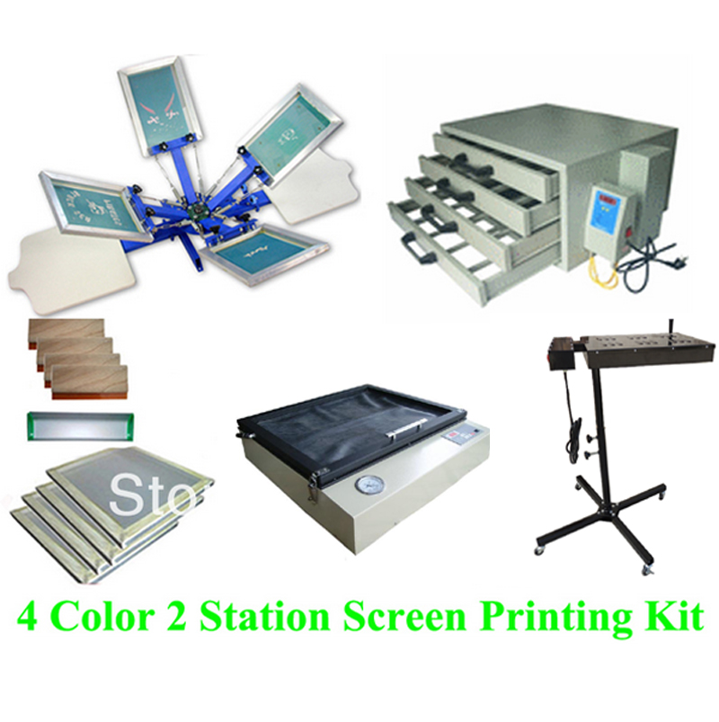Free shipping discount full set 4 color 2 station t-shirt screen printing kit press printer machine flash dryer expsoure 1pc single color screen printer t shirt screen printing machine 24 30cm flat printing press