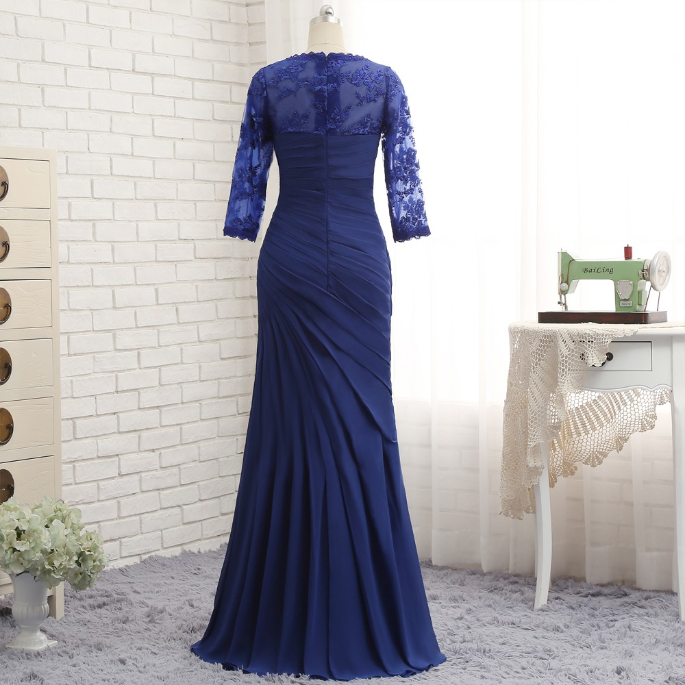 Plus Size Royal Blue 2017 Mother Of The Bride Dresses Mermaid 3/4 Sleeves Lace Long Evening Dresses Mother Dresses For Wedding 5