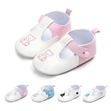 Autumn Newborn Baby Button PU Leather Shoes Kid Girls Boy Cu