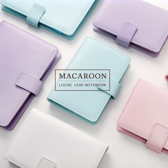 2017 New Macaroon Faux Leather Ring Personal Loose Leaf Binder Kawaii Cute Organizer Planner Agenda Dairy Travel Journal A5 A6