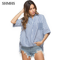 SHMHS Striped Shirt Women Fashion Tops Summer Style Ladies Casual Half Sleeve High Low Blouse Back