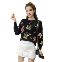 New Autumn Winter High Waist Embroidery Floral Knitted Sweater Women Christmas Sweaters And Pullovers Jumper Pull