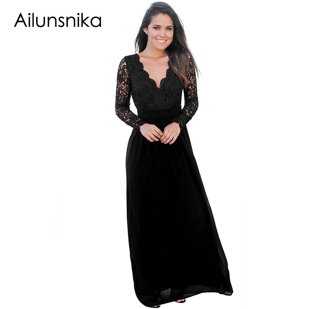 Ailunsnika Langes Kleid 2018 Herbst Elegante Sexy Kleider Open Back ...