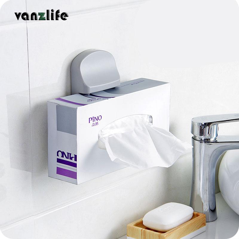 Vanzlife Creative Paste Vertical Bathroom Paper Towel Clip Rack Multi-purpose Storage Rack Can Do Mobile Phone Holder