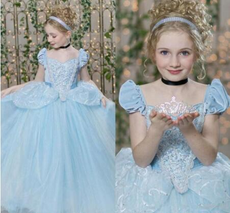 Unique Style Sky Blue Princess Dress Short Sleeves Sparkly Sequins Custom Made Flower Girl Dress For Wedding Kids Pageant Gowns