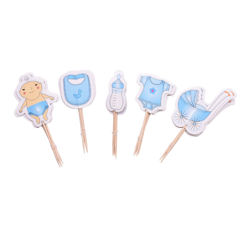 Image 2 - 20pcs Baby Shower Cup Cake Toppers Boy&Girl Birthday Party Cute Decoration Baby Shower Birthday Party DIY Cake Topper Supplies-in Cake Decorating Supplies from Home & Garden