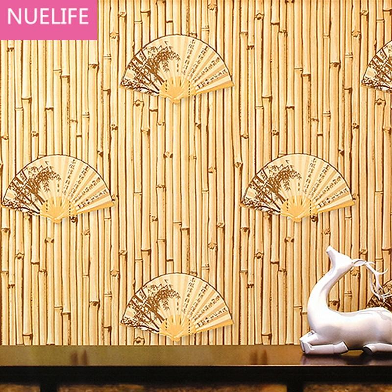 0.53x10m Chinese bamboo fan pattern  wallpaper study room restaurant living room bedroom shop room decoration wallpaper