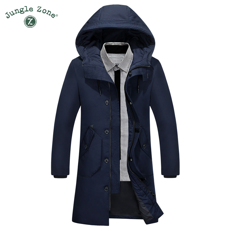 JUNGLE ZONE Design Thick Warm Winter <font><b>White</b></font> Duck Down Jacket Medium-Long Thickening Coat Men For Winter Overcoat Outerwear 918-65