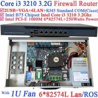1U сети маршрутизатор брандмауэра ПК, barebone с 6 Gigabit 82583 В LAN Intel Core i3 3210 3.2 ГГц wayos pfsense ROS