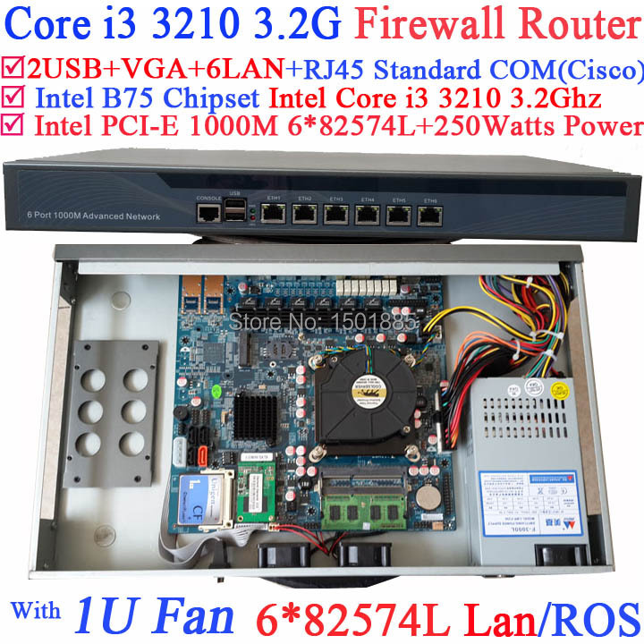 1U network router firewall pc,barebone with 6 Gigabit 82583v LAN Intel Core i3 3210 3.2Ghz Wayos PFSense ROS new arrival lp supreme 90th birthday model electric guitar with frets binding gold goldtop 140401