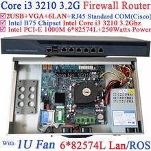 1U сеть маршрутизатор брандмауэра пк, Barebone с 6 гигабитных 82583 В LAN процессор Intel i3 3210 3.2 ГГц Wayos PFSense рос