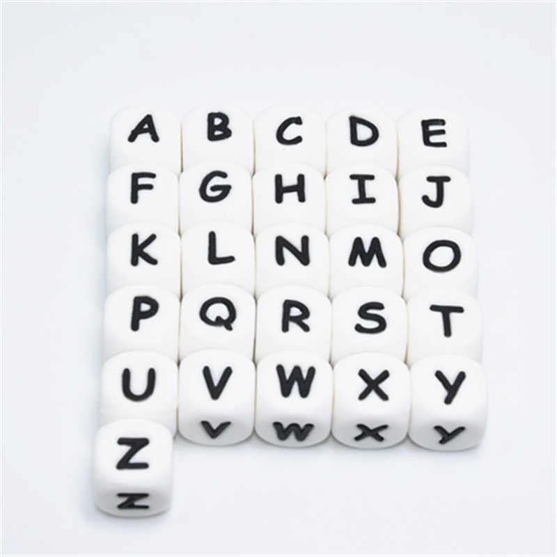100 ADET İngilizce Alfabe Mektubu 12 MM Silikon Küp Diş Kaşıyıcı Boncuk BPA Ücretsiz Gıda Sınıfı Bebek Diş Çıkarma Takı Öğretim Hemşirelik oyuncak