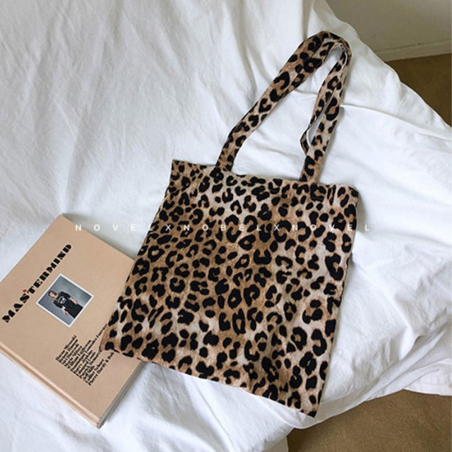 1c527768ae78 US $6.38 15% OFF|cotton bag for girls classic leopard college school bags  woman shoulder bag casual travel tote bags-in Shopping Bags from Luggage &  ...
