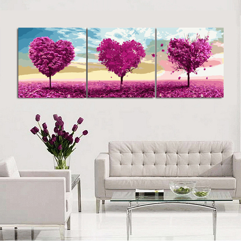 3pcs/set 50*50 diy oil painting by numbers triptych acrylic painting coloring paint by number hand painted love trees