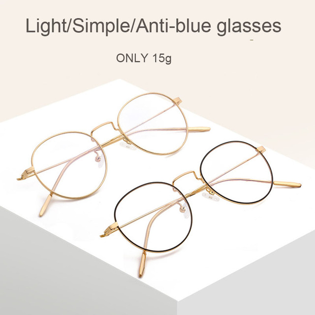 Fashion Blue Light Glasses Retro Metal Frame Anti Blue Ray