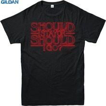 T Shirt Hot Topic Sleeve MenS Crew Neck  Stranger Things Should I Stay Short Compression Shirts