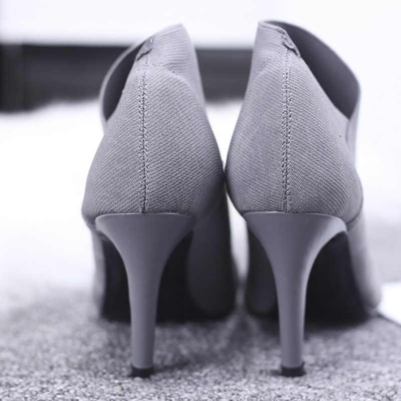 Kadınlar Yüksek Topuk Patik Büyük Size34-41Fashion Kadın Yüksek Topuklu Çizmeler Genç Bayanlar Moda Patik 8.5cm Topuk Bez Çizmeler l33