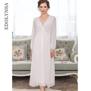 Image 1 - Elegant High Waist Pink Sleepwear Women Nightgowns Long Sleeve V Neck Night Wear Sleep Shirt Vintage Lace Home Dress Ladies T311