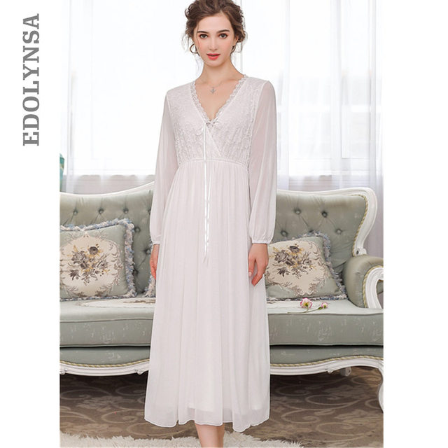 Elegant High Waist Pink Sleepwear Women Nightgowns Long Sleeve V Neck Night Wear Sleep Shirt Vintage Lace Home Dress Ladies T311