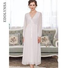 Zarif yüksek bel pembe pijama kadın Nightgowns uzun kollu V boyun gecelik uyku gömlek Vintage dantel ev elbise bayanlar T311