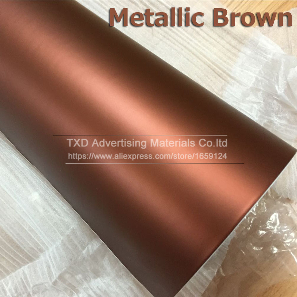 10/20/30/40/50/60X152CM/Lot Chrome Matte Vinyl Film Brown Color Metallic Chrome Matte Sticker For Car Wrapping With Bubble Free