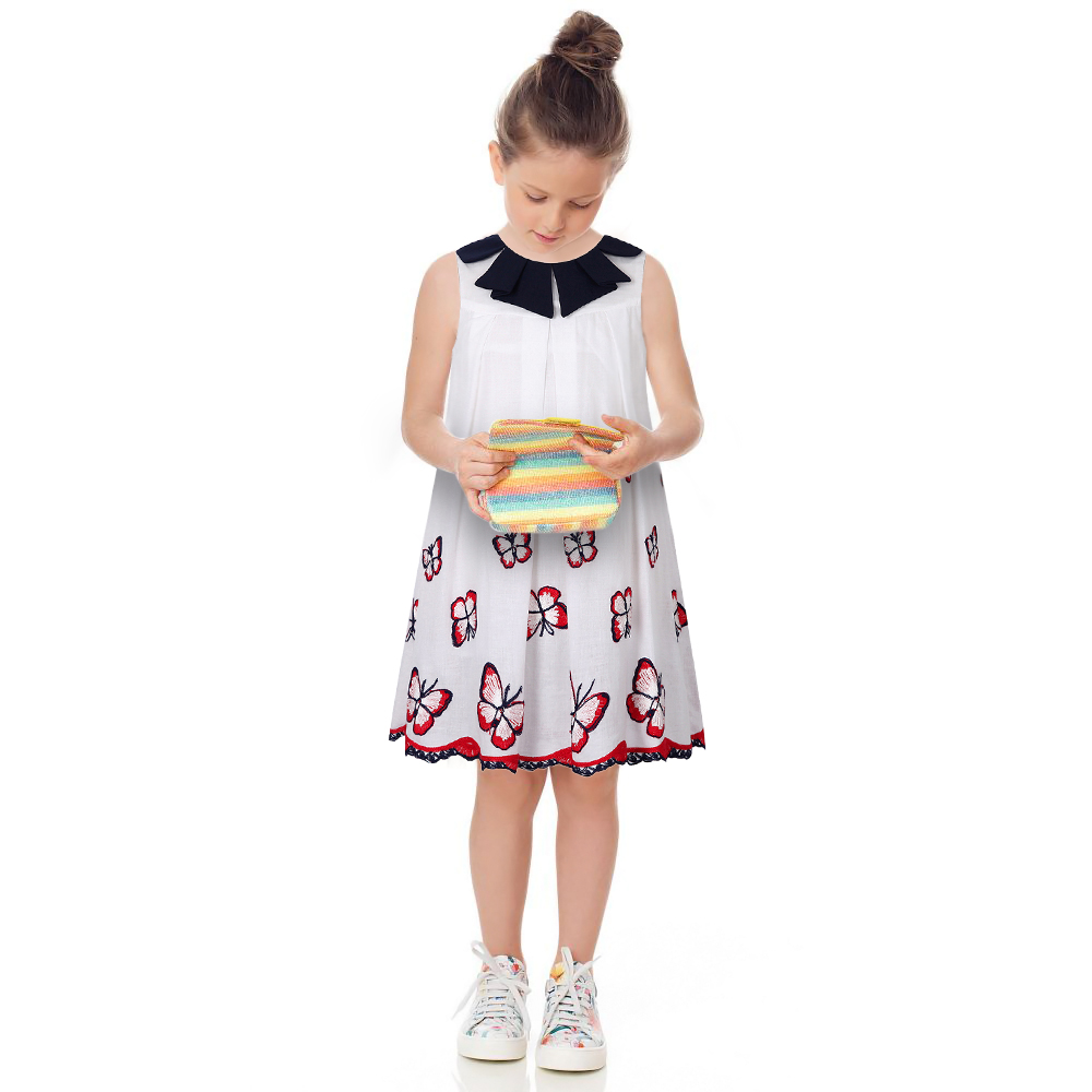 Girls Dress Summer 2017 Brand Kids Party Dresses Girl Clothes Butterfly Embroidery Robe Enfant Children Dress Princess Costume  girls party dresses silk chiffon 2017 brand toddler dress princess costume for kids clothes flower robe enfant children dress