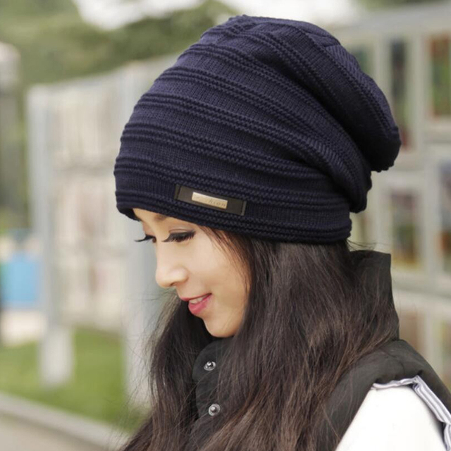 a3095484566 2018 Slouchy Beanie Faux Fur Unisex Baggy Hat Wool Knitted Warm Winter Hats  For Woman Man
