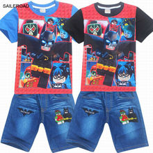 The Lego Batman Movie Summer Boy Clothing Sets Cotton 4-9Years Children Kids Shorts Clothing Suits New Baby Boys Sets SAILEROAD
