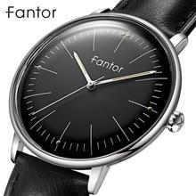 Fantor marka klasik Minimalist erkek deri aydınlık el rahat iş erkek kuvars saatler kutusu