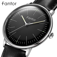 Fantor מותג קלאסי מינימליסטי גברים עור זוהר יד מזדמן איש עסקי קוורץ שעון עם תיבה