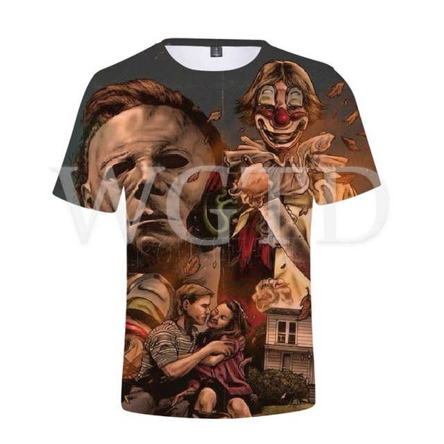 Halloween Michael Myers T Shirt 3D Printed Tee Tops Streetwear Casual T-shirt for Women Men Summer Short Sleeve T Shirts 1