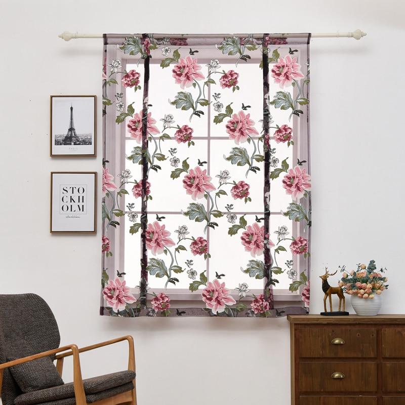 Lila Floral Kurze Vorhänge Schlafzimmer Tulles Für Küche Schlafzimmer  Wohnzimmer Voile Pfingstrose Mädchen Vorhänge Für Schlafzimmer Wohnkultur