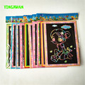 HAPPYXUAN 50pcs/lot Wholesale 12.5*17.5cm Magic Color Scratch Art Paper Scraping Drawing Picture Children's toys