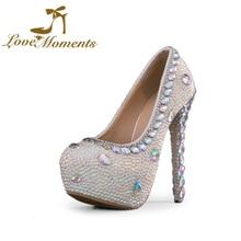 luxury nobility AB rhinestone ultra high heels platform wedding shoes  handmade shoes beading Bridal Shoes