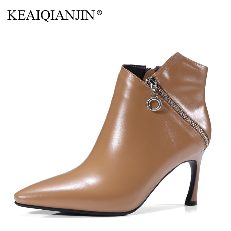 KEAIQIANJIN Woman Pointed Toe Ankle Boots Autumn Winter Plus Size 33 - 43 High Heel Shoes Zipper Genuine Leather High Heel Boots цены онлайн
