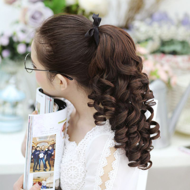 SHANGKE Short Curly Ponytails Clip In Fake Hair Extensions Natual Clip In Hair Tails Heat Resistant Synthetic Ponytail 3