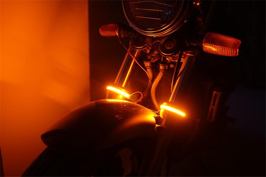 2 Pcs PVC 45-70MM Motorcycle Front Fork Mount Turn Signal Light Amber LED Strips