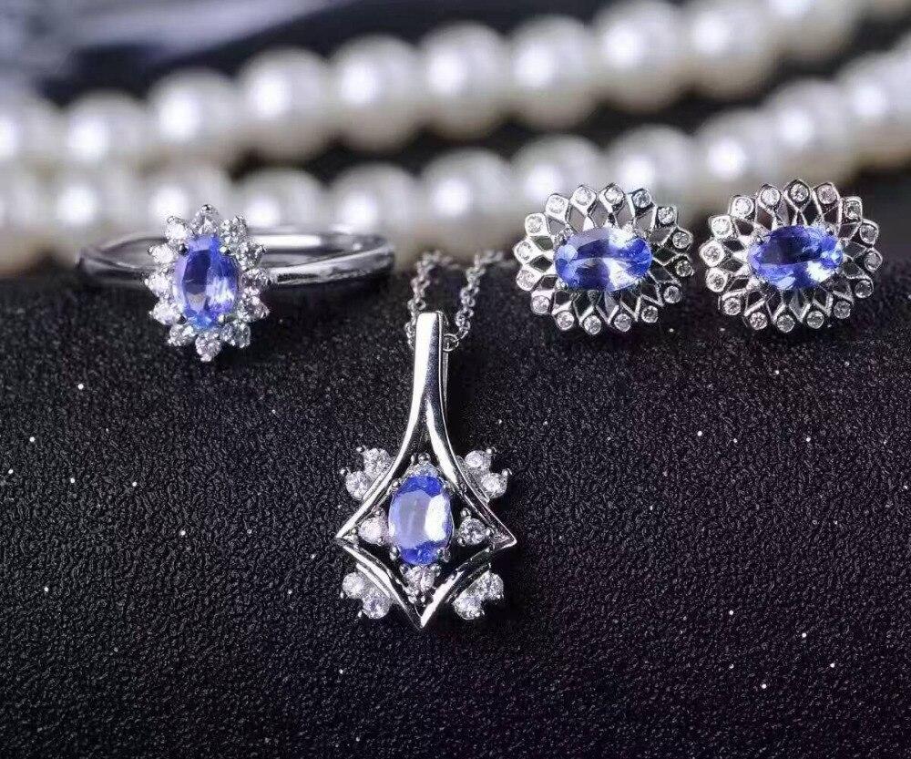 Natural blue tanzanite gem font b jewelry b font sets natural gemstone Pendant ring font b
