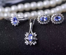 Natural blue tanzanite gem jewelry sets natural gemstone Pendant ring Earrings 925 silver round Diana women party fine jewelry