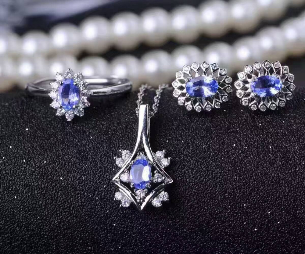 Natural blue tanzanite gem jewelry sets natural gemstone Pendant ring Earrings 925 silver round Diana women party fine jewelry natural green jasper gem jewelry sets natural gemstone ring earrings pendant 925 silver stylish elegant round women fine jewelry