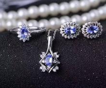 Natural blue tanzanite gem jewelry sets natural gemstone Pendant ring Earrings 925 silver round Diana women