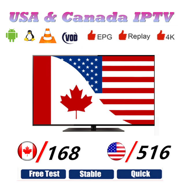US $9 9 |USA IPTV Canada IPTV M3U8 Playlist Android Smart TV Free Smarters  IPTV Subscription with 516 USA TV and 168 Canada Channels-in Set-top Boxes