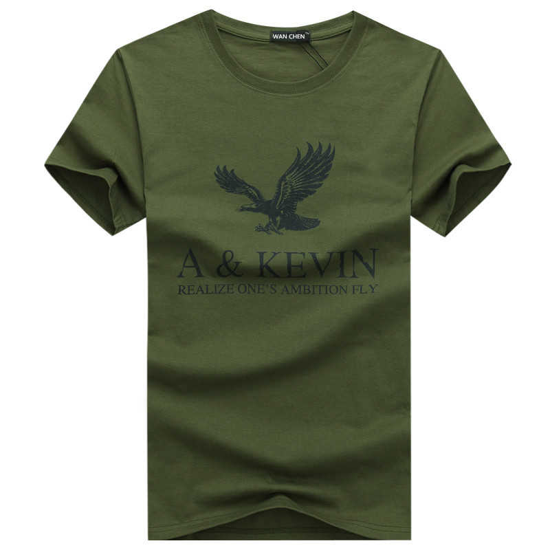 New Pure Cotton Short  Brand T Shirt Men's Large Size T Shirt Slim Fit Fashion Eagle Printed T-shirt Men Plus Size S -5XL