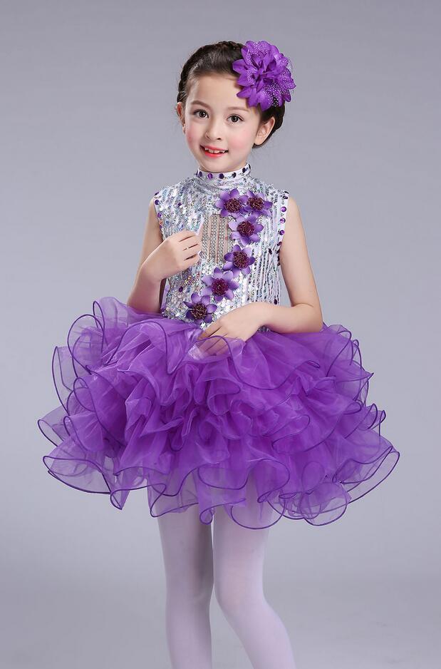 Нарядное платье принцессы для танцев для девочек; Детские бальные платья в стиле джаз и хип-хоп; бальная праздничная одежда; Одежда для девочек с блестками на Хэллоуин и Рождество - Цвет: Фиолетовый