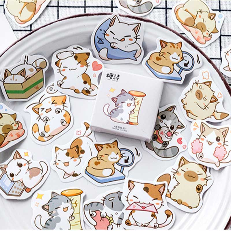 45 Pcs/box My Cat Decorative Stickers Adhesive Scrapbooking Sticker DIY Decoration Diary Korea Stationery Stickers Children Gift
