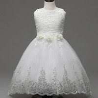 Boutique Outfits Summer Baby Girls Party Dress Evening Wear Long Tail Girls Clothes Elegant Flower Girl
